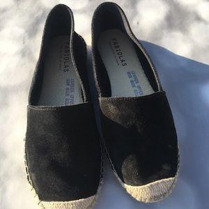 Fabiolas Espadrilles Black Suede Leather Size 37